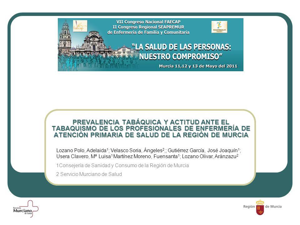 PREVALENCIA TABÁQUICA Y ACTITUD ANTE EL TABAQUISMO DE LOS PROFESIONALES DE ENFERMERÍA DE ATENCIÓN PRIMARIA DE SALUD DE LA REGIÓN DE MURCIA