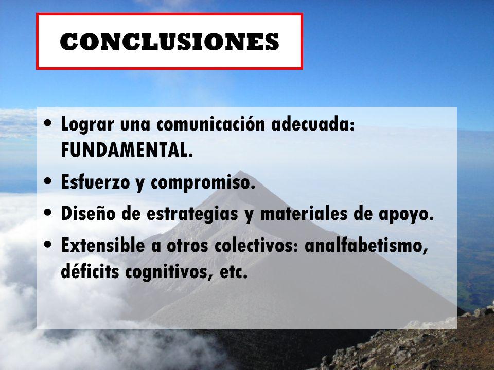 CONCLUSIONES Lograr una comunicación adecuada: FUNDAMENTAL.