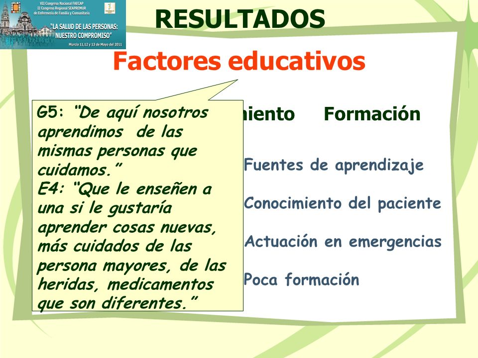 RESULTADOS Factores educativos