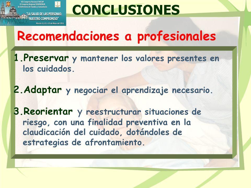 CONCLUSIONES Recomendaciones a profesionales. Preservar y mantener los valores presentes en los cuidados.