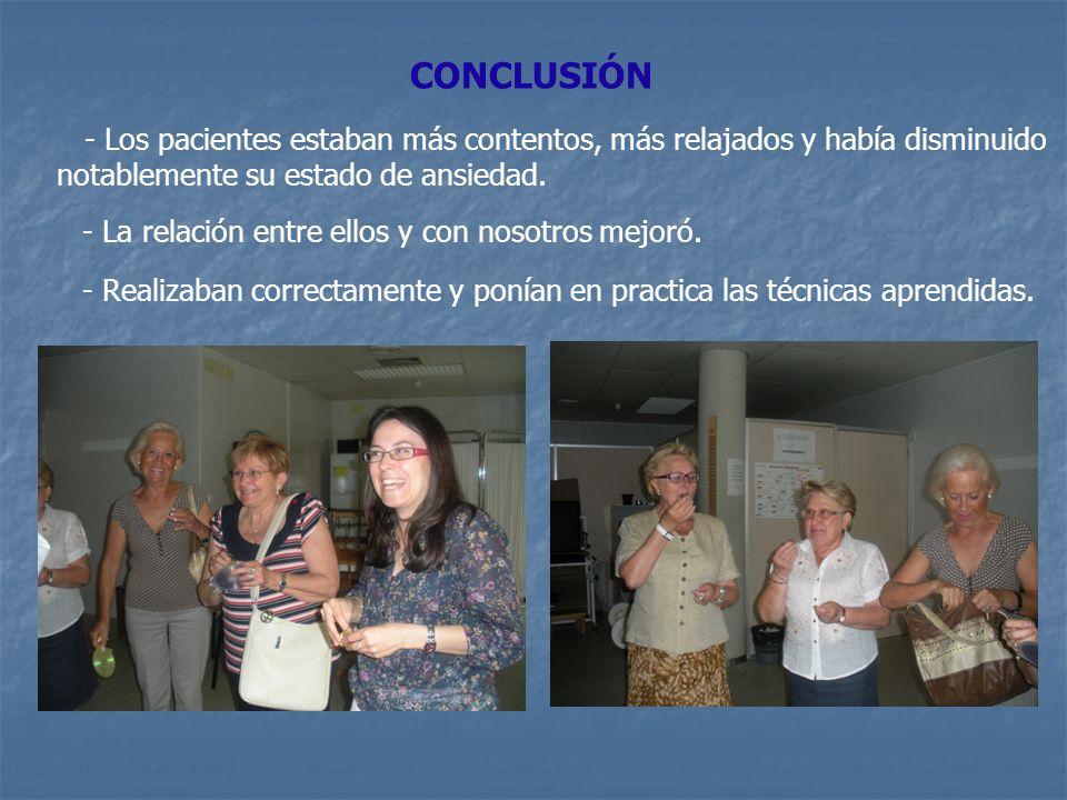 CONCLUSIÓN - Los pacientes estaban más contentos, más relajados y había disminuido notablemente su estado de ansiedad.