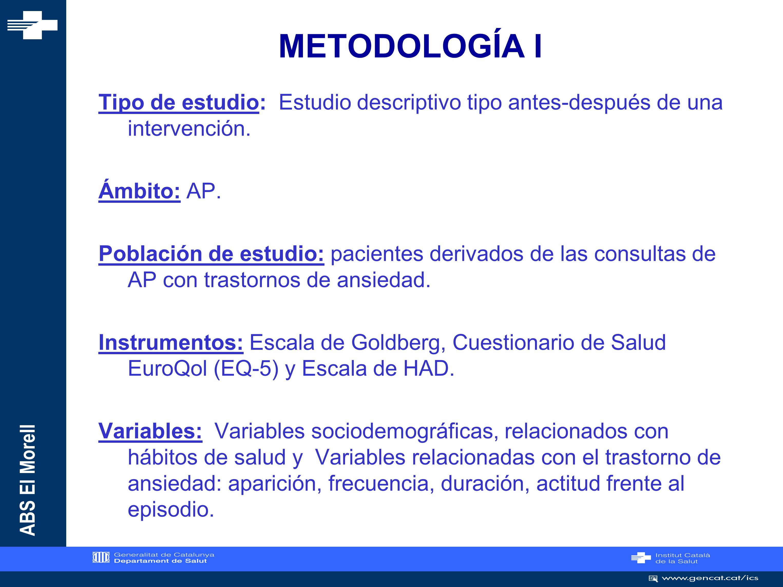METODOLOGÍA I Tipo de estudio: Estudio descriptivo tipo antes-después de una intervención. Ámbito: AP.