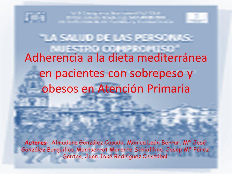 Adherencia a la dieta mediterránea en pacientes con sobrepeso y obesos en Atención Primaria