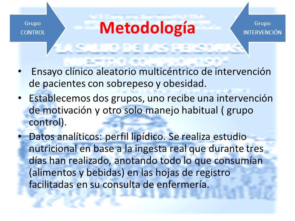 CONTROL Grupo. INTERVENCIÓN. Metodología. Ensayo clínico aleatorio multicéntrico de intervención de pacientes con sobrepeso y obesidad.