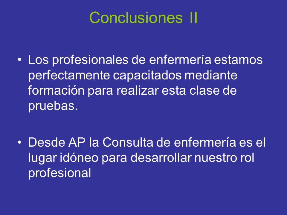Conclusiones II Los profesionales de enfermería estamos perfectamente capacitados mediante formación para realizar esta clase de pruebas.