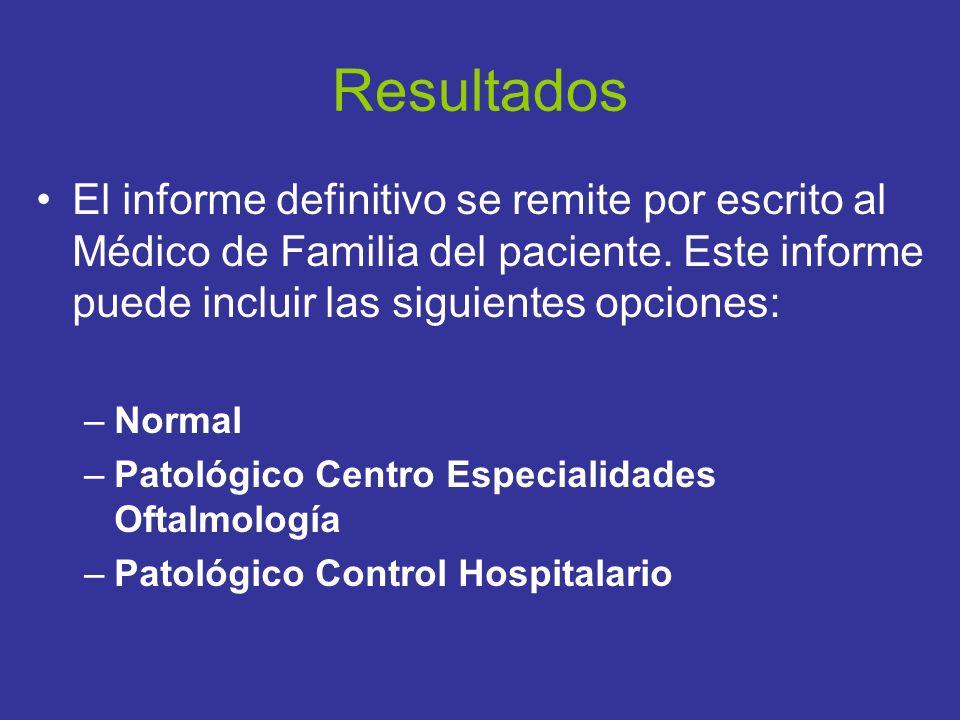 Resultados El informe definitivo se remite por escrito al Médico de Familia del paciente. Este informe puede incluir las siguientes opciones: