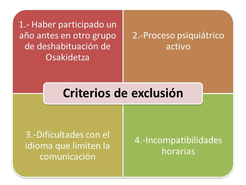 Criterios de exclusión