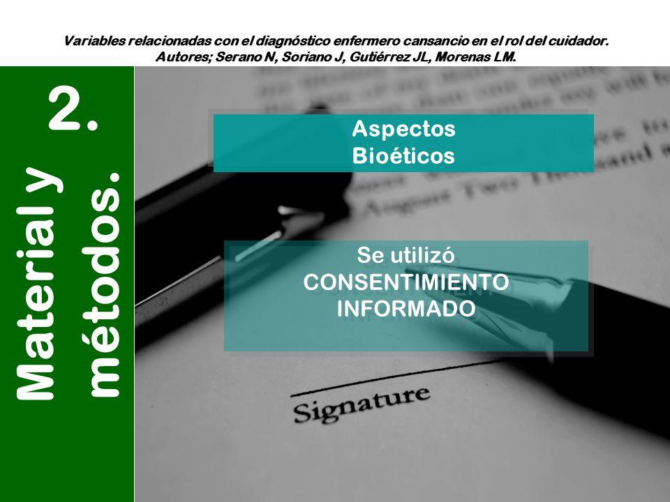 2. Material y métodos. Aspectos Bioéticos Se utilizó CONSENTIMIENTO