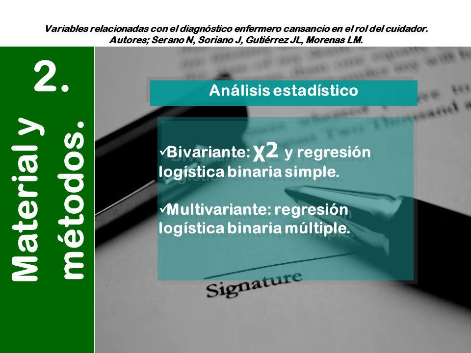 2. Material y métodos. Análisis estadístico