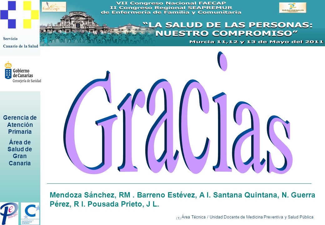 GraciasMendoza Sánchez, RM . Barreno Estévez, A I. Santana Quintana, N. Guerra Pérez, R I. Pousada Prieto, J L.