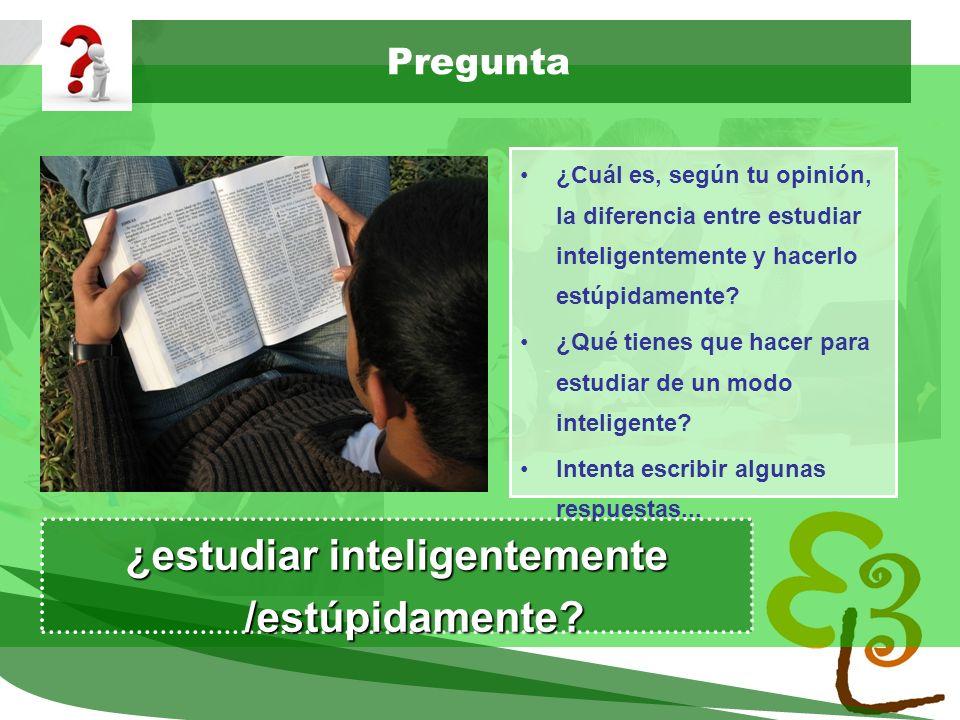 ¿estudiar inteligentemente /estúpidamente