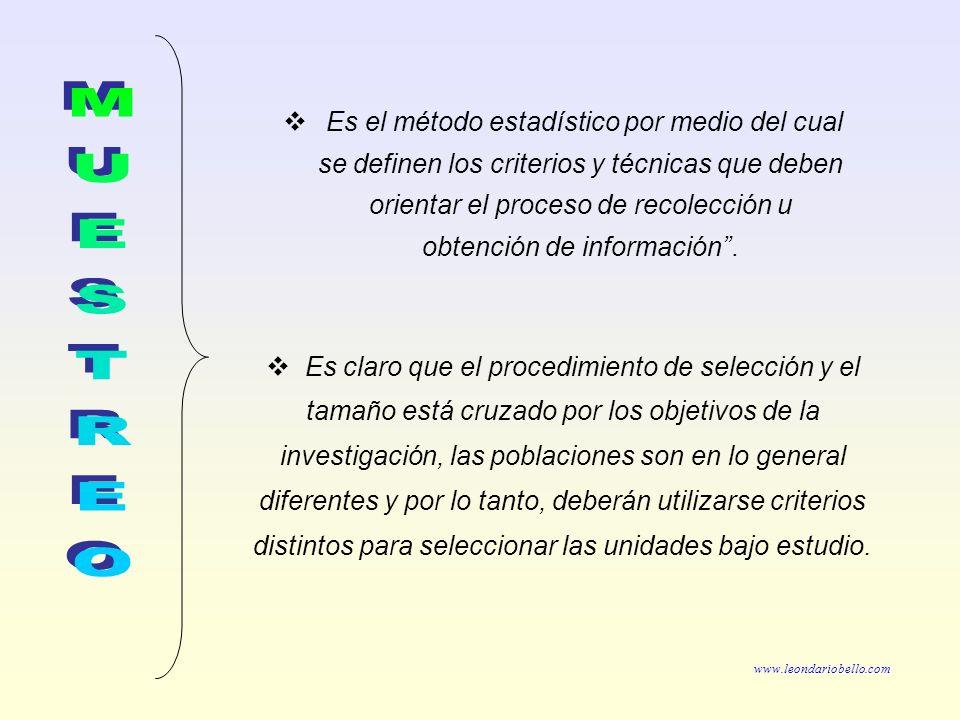 Es el método estadístico por medio del cual se definen los criterios y técnicas que deben orientar el proceso de recolección u obtención de información .