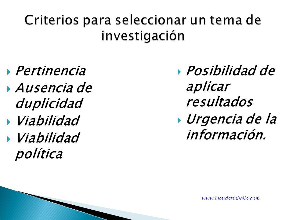 Criterios para seleccionar un tema de investigación