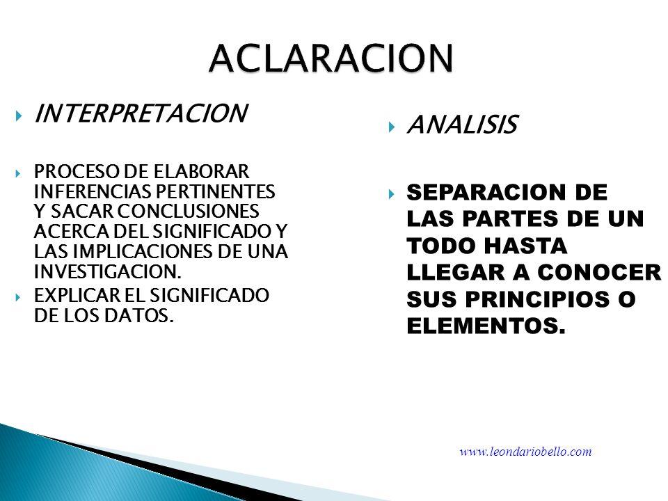 ACLARACION INTERPRETACION ANALISIS