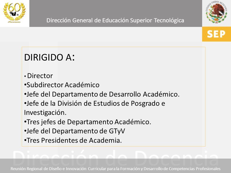 DIRIGIDO A: Subdirector Académico