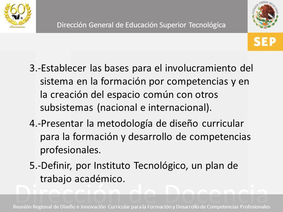 3.-Establecer las bases para el involucramiento del sistema en la formación por competencias y en la creación del espacio común con otros subsistemas (nacional e internacional).