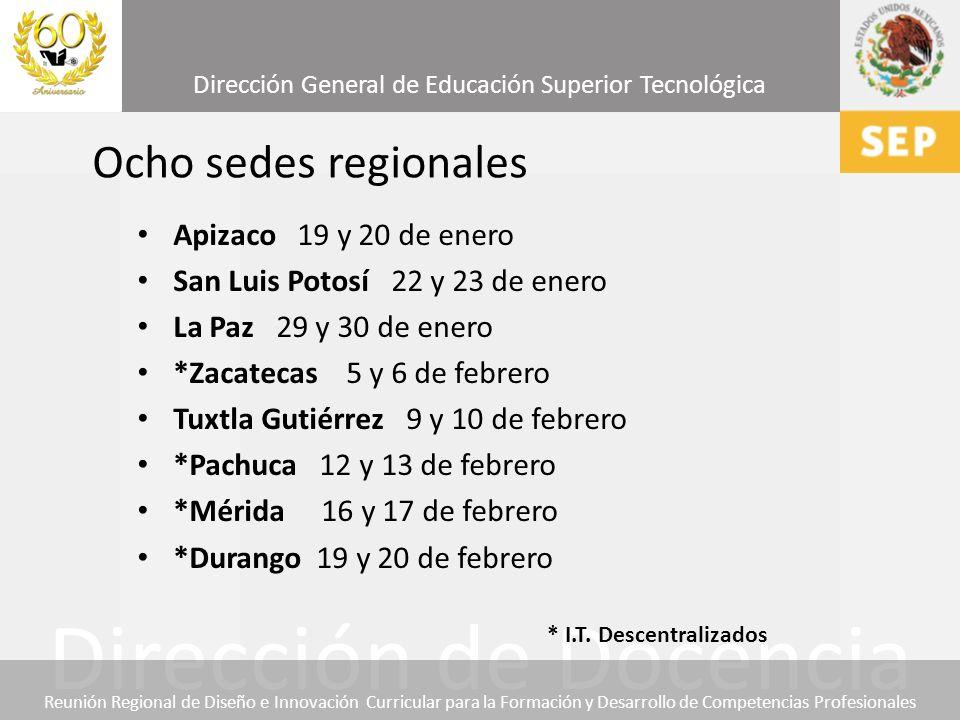 Ocho sedes regionales Apizaco 19 y 20 de enero