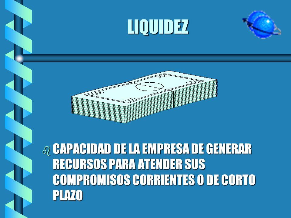 LIQUIDEZ CAPACIDAD DE LA EMPRESA DE GENERAR RECURSOS PARA ATENDER SUS COMPROMISOS CORRIENTES O DE CORTO PLAZO.