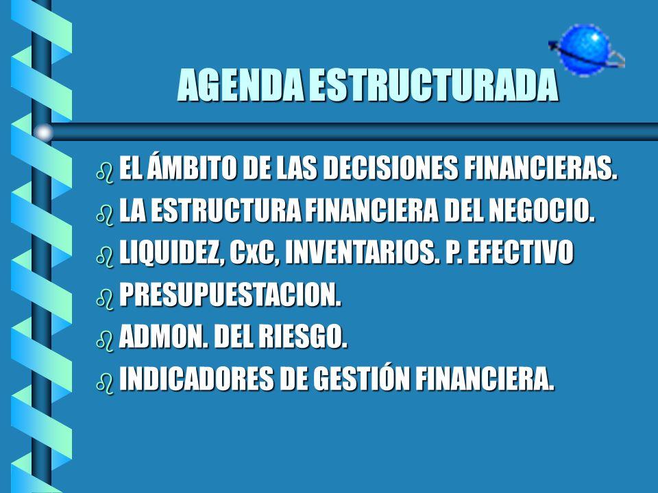 AGENDA ESTRUCTURADA EL ÁMBITO DE LAS DECISIONES FINANCIERAS.