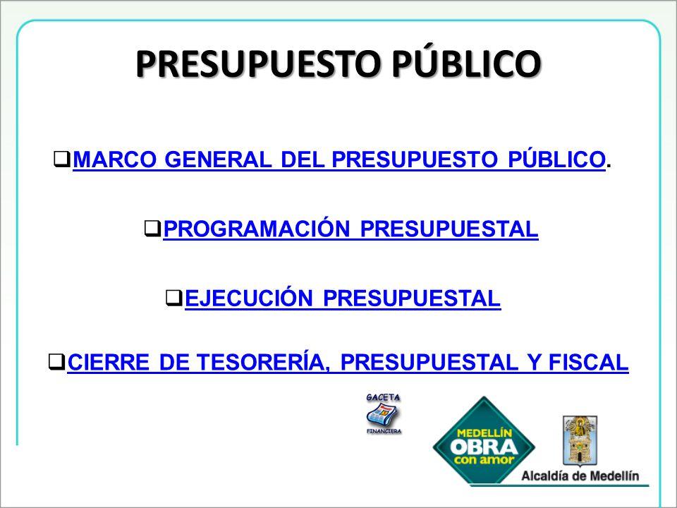 PRESUPUESTO PÚBLICO MARCO GENERAL DEL PRESUPUESTO PÚBLICO.