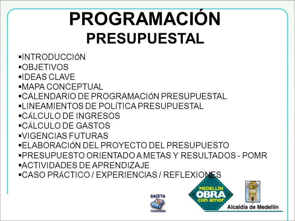 PROGRAMACIÓN PRESUPUESTAL INTRODUCCIÓN OBJETIVOS IDEAS CLAVE