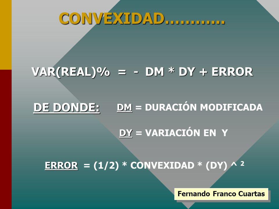 CONVEXIDAD………... VAR(REAL)% = - DM * DY + ERROR DE DONDE: