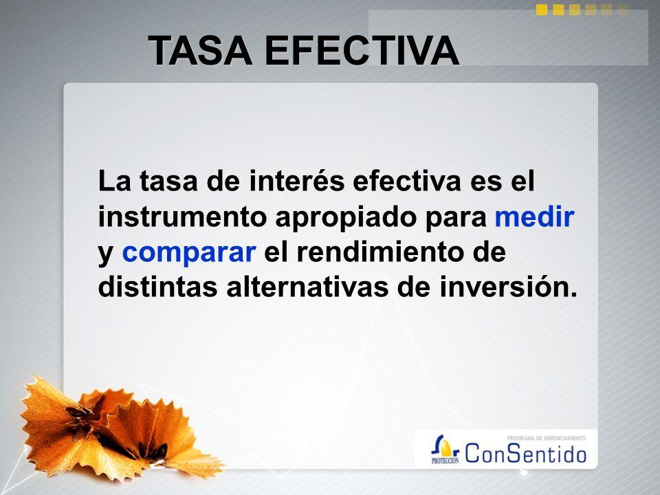 TASA EFECTIVALa tasa de interés efectiva es el instrumento apropiado para medir y comparar el rendimiento de distintas alternativas de inversión.