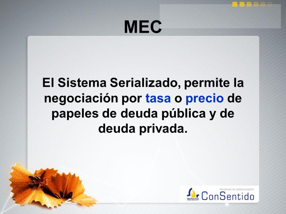 MECEl Sistema Serializado, permite la negociación por tasa o precio de papeles de deuda pública y de deuda privada.