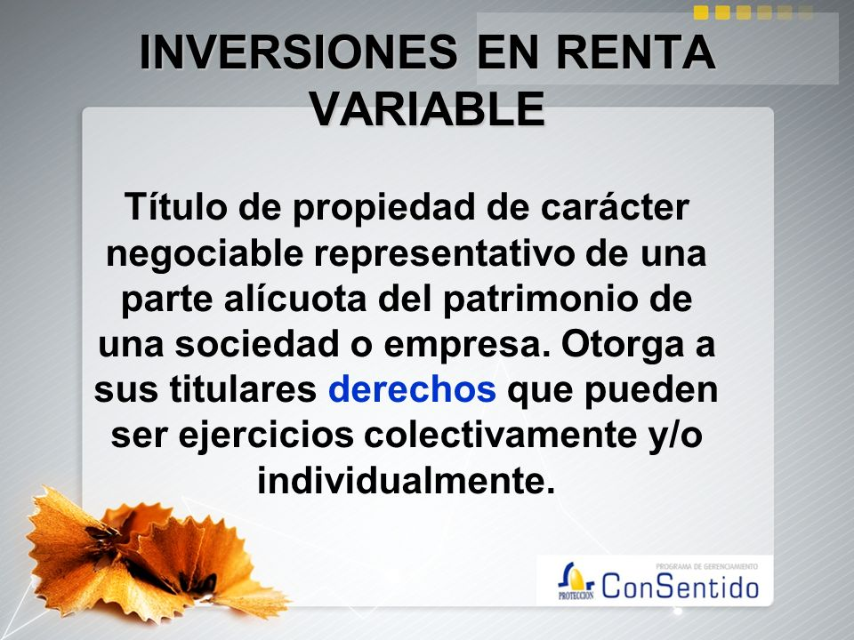 INVERSIONES EN RENTA VARIABLE