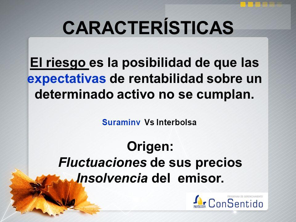 CARACTERÍSTICASEl riesgo es la posibilidad de que las expectativas de rentabilidad sobre un determinado activo no se cumplan.