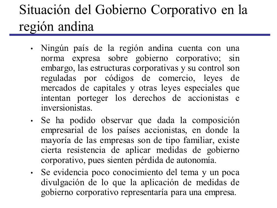Situación del Gobierno Corporativo en la región andina