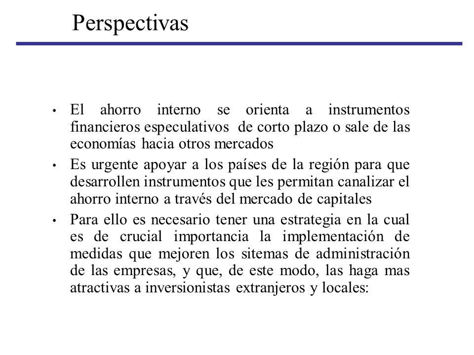 Perspectivas El ahorro interno se orienta a instrumentos financieros especulativos de corto plazo o sale de las economías hacia otros mercados.