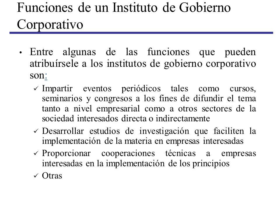 Funciones de un Instituto de Gobierno Corporativo