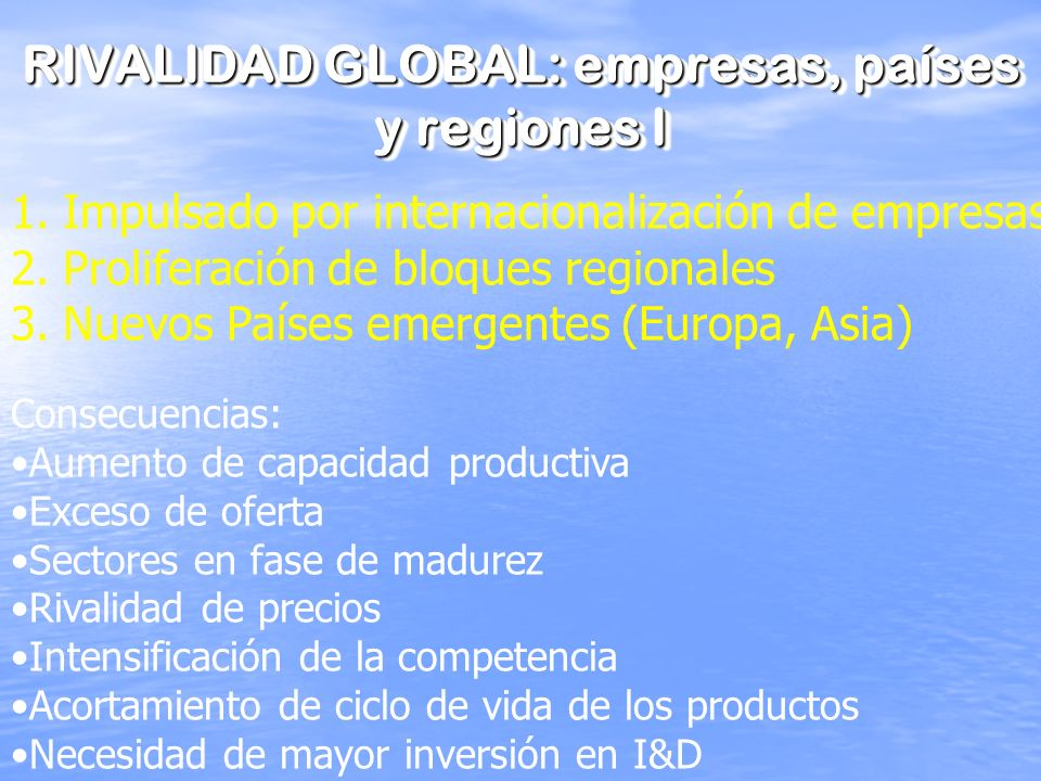 RIVALIDAD GLOBAL: empresas, países y regiones I