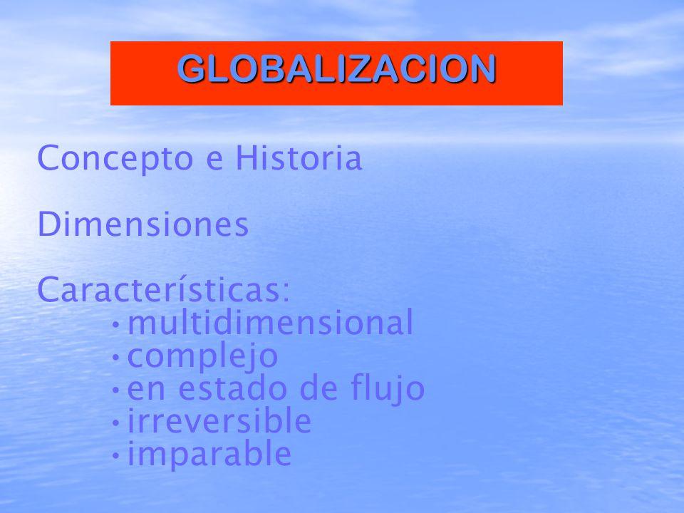 GLOBALIZACION Concepto e Historia Dimensiones Características: