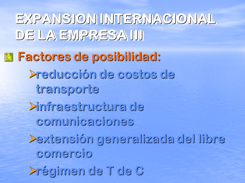EXPANSION INTERNACIONAL DE LA EMPRESA III