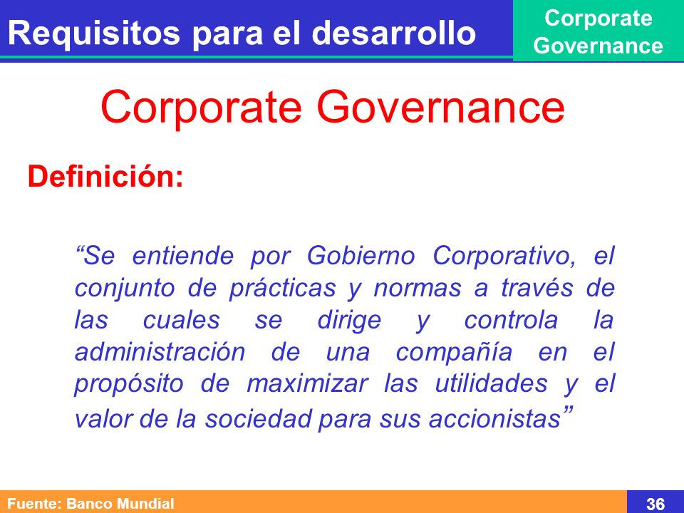 Corporate Governance Requisitos para el desarrollo Definición: