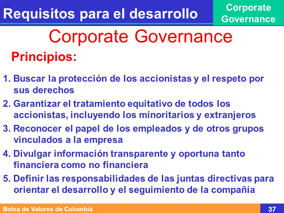 Corporate Governance Requisitos para el desarrollo Principios: