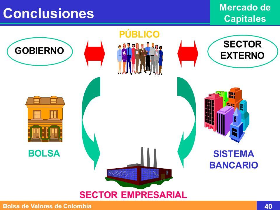 Conclusiones Mercado de Capitales PÚBLICO SECTOR EXTERNO GOBIERNO