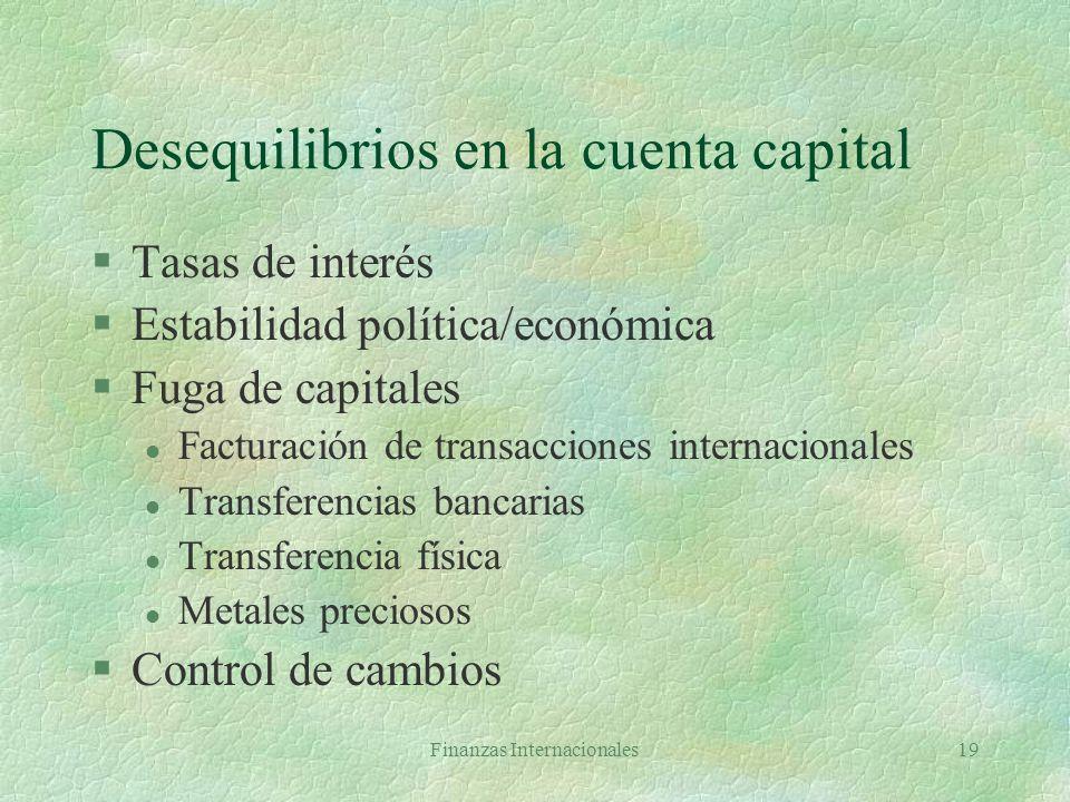 Desequilibrios en la cuenta capital