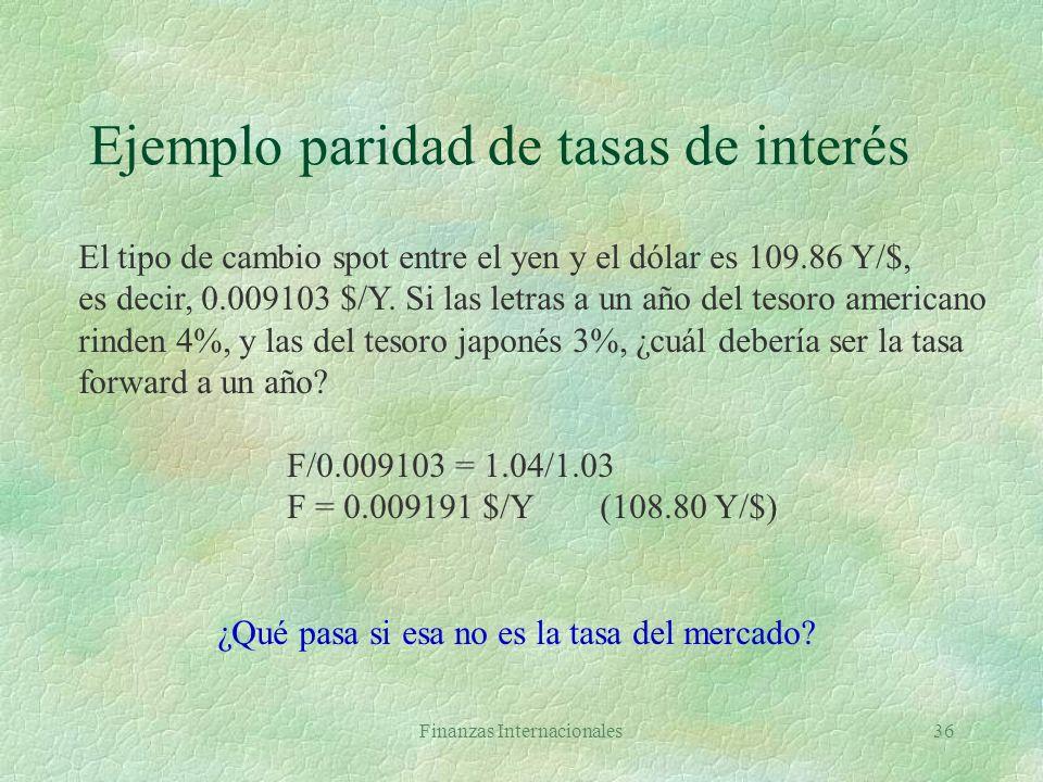 Ejemplo paridad de tasas de interés