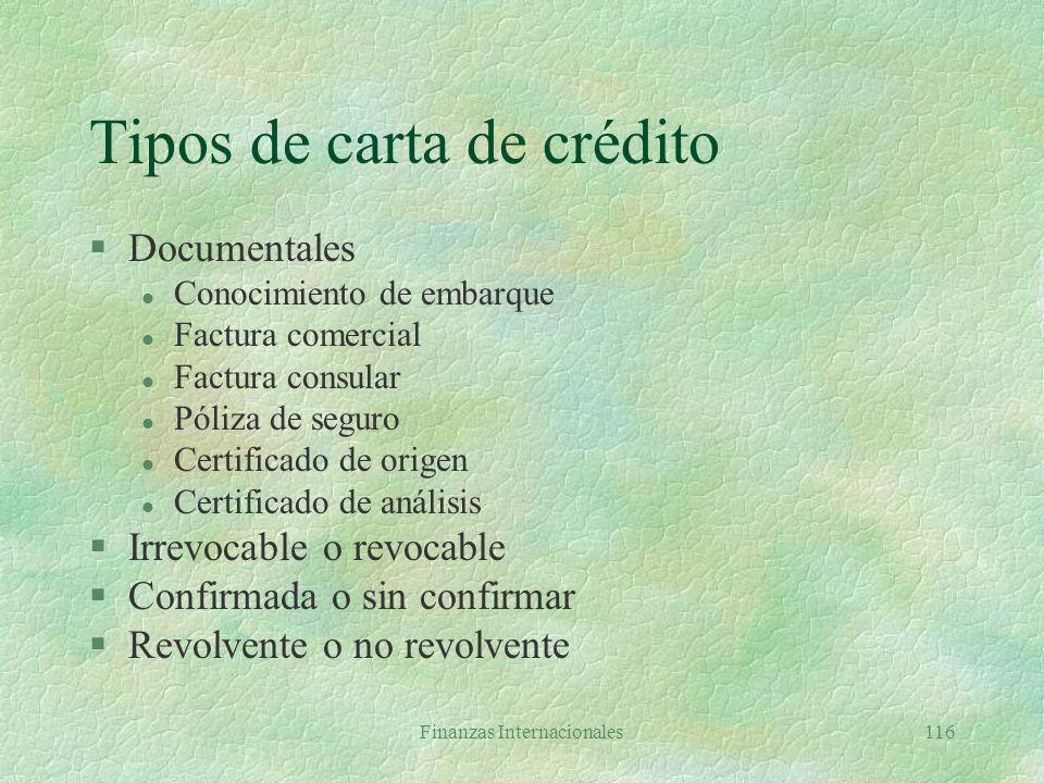 Tipos de carta de crédito