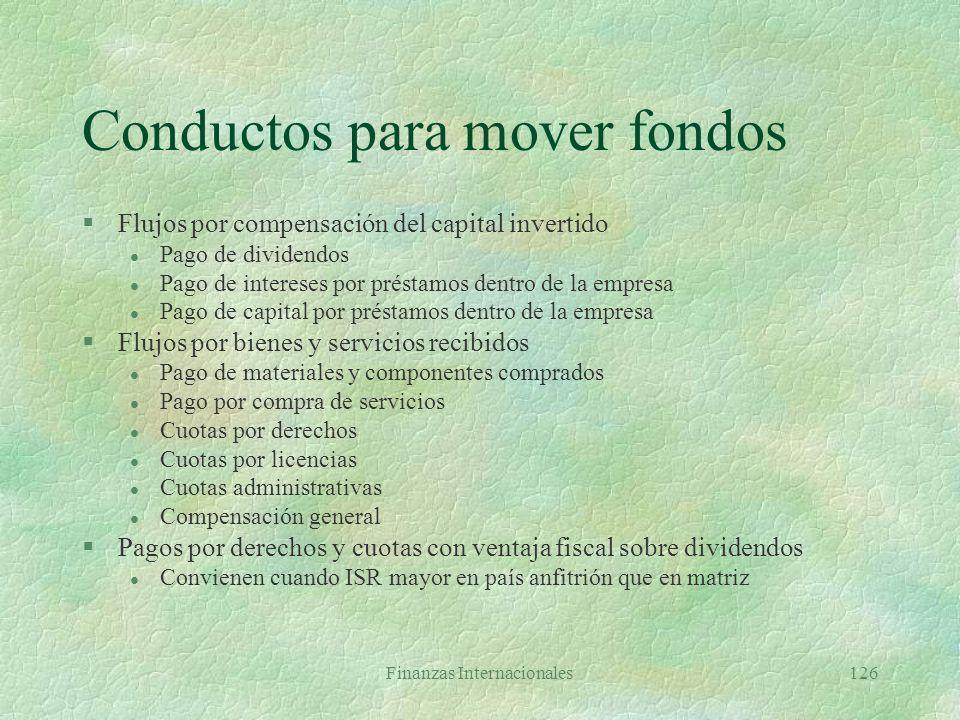 Conductos para mover fondos
