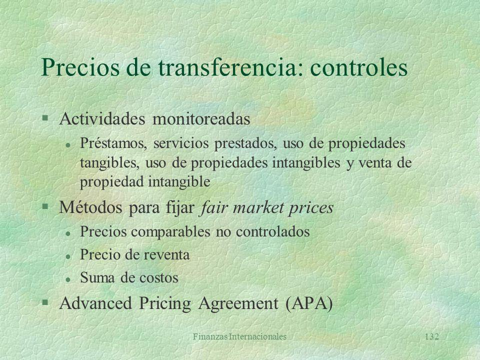 Precios de transferencia: controles