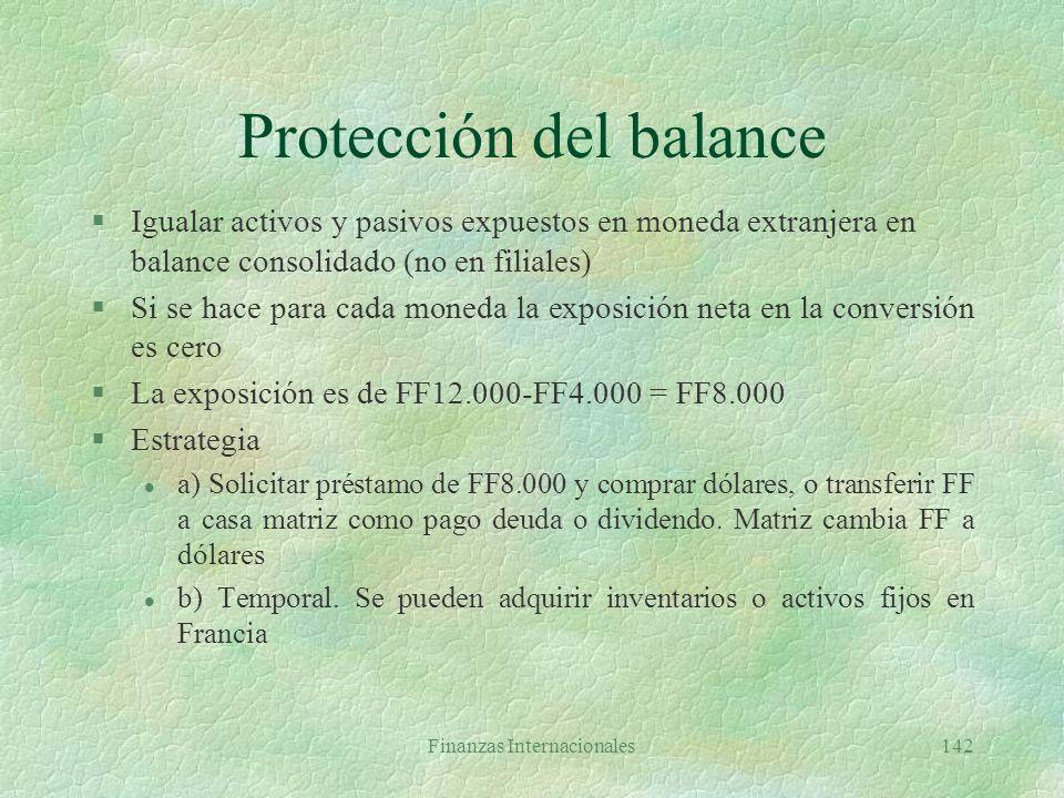 Protección del balance
