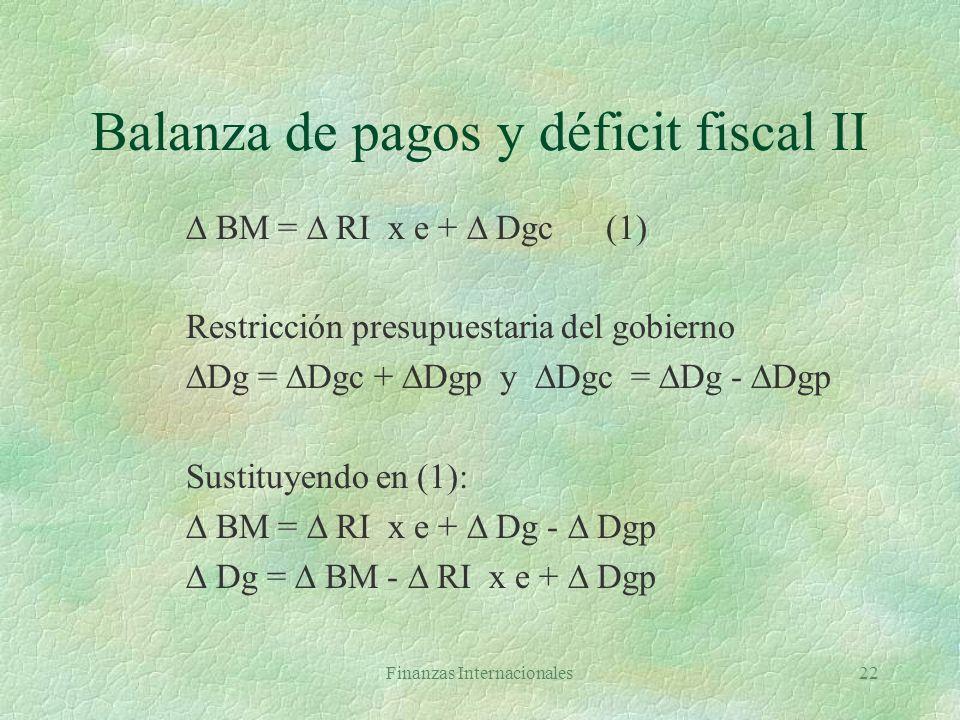 Balanza de pagos y déficit fiscal II