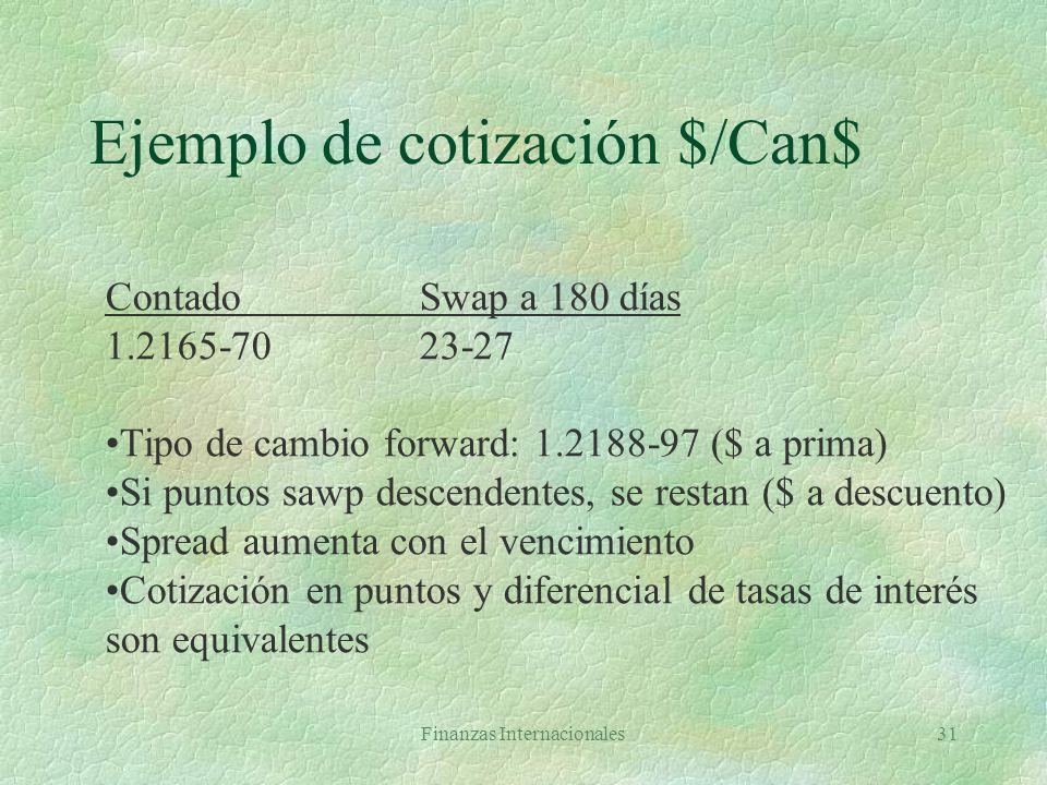 Ejemplo de cotización $/Can$