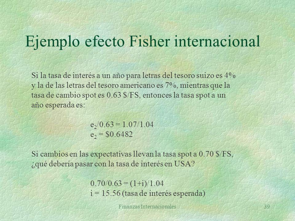 Ejemplo efecto Fisher internacional