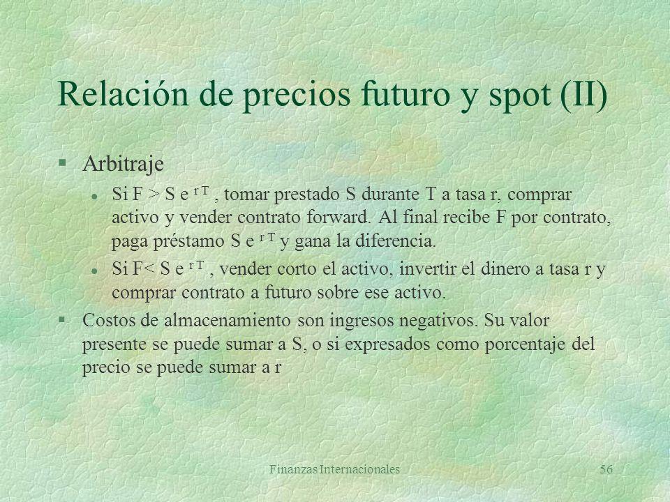 Relación de precios futuro y spot (II)