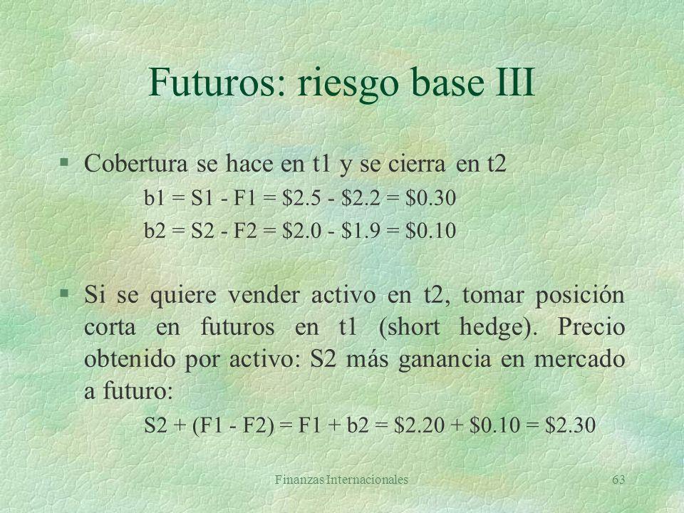 Futuros: riesgo base III